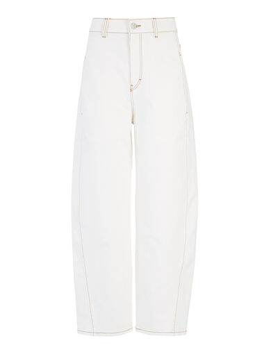 Garment Dyed Stretch Line Trousers, in OFF WHITE, large | on Joseph