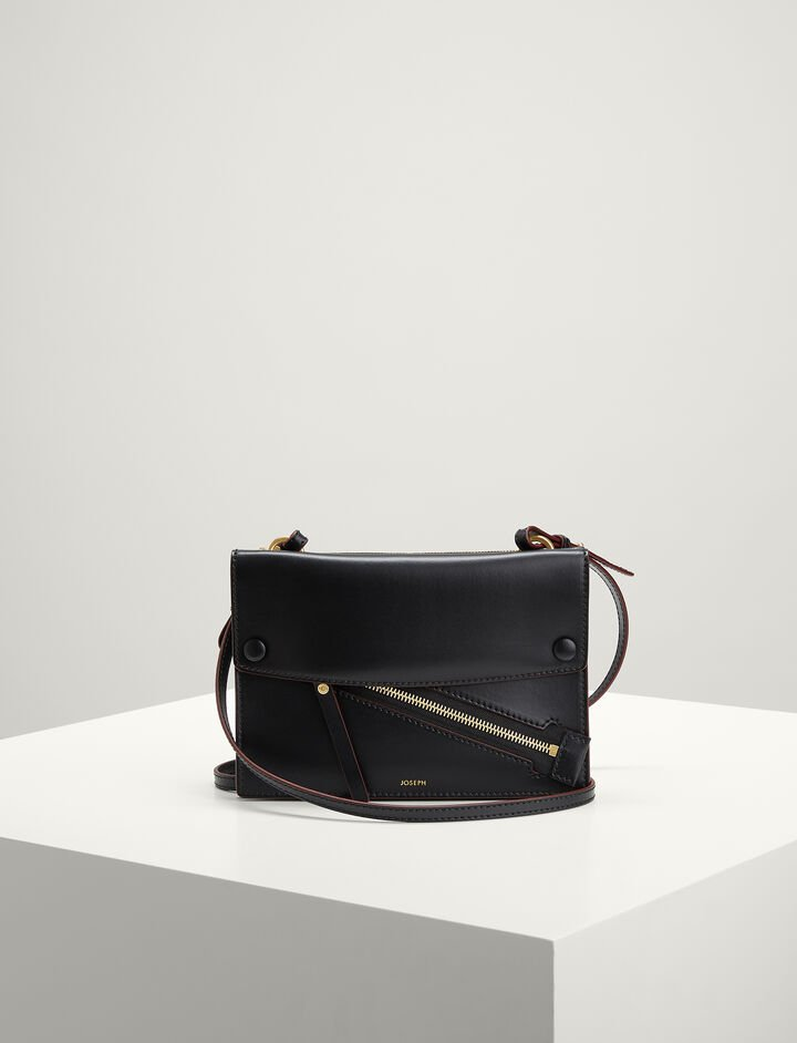 Joseph, Calf-leather Fleet Bag , in BLACK/MORGON