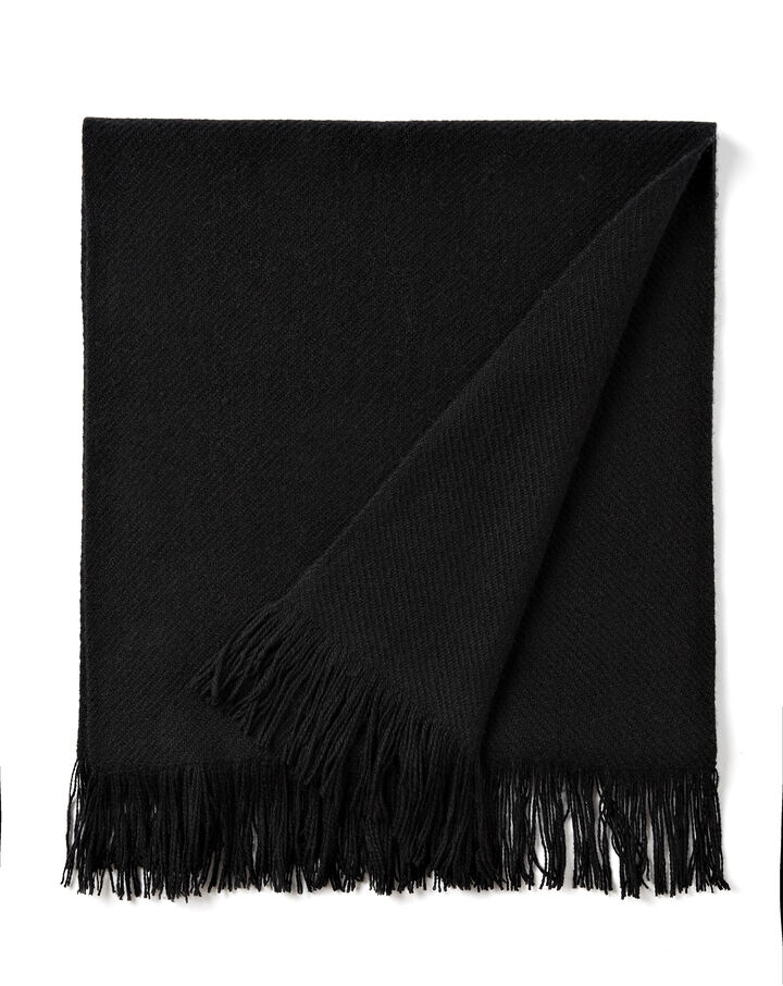 Cashmere Twill Fringe Scarf, in BLACK, large | on Joseph