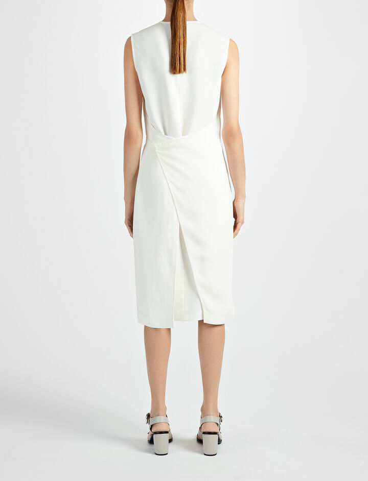 Textured Viscose Easton Dress, in BONE, large | on Joseph