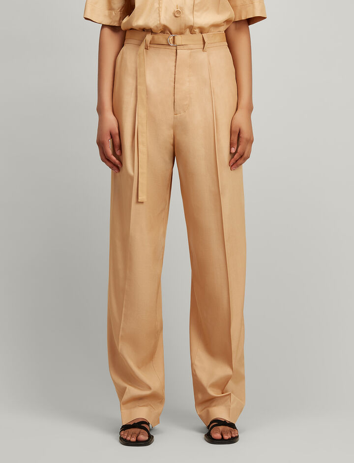 Tussah Silk Riska Trousers, in PALE AMBER, large | on Joseph