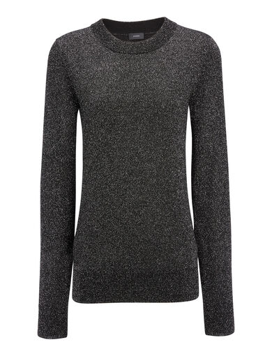 Lurex Knit Sweater, in BLACK, large | on Joseph