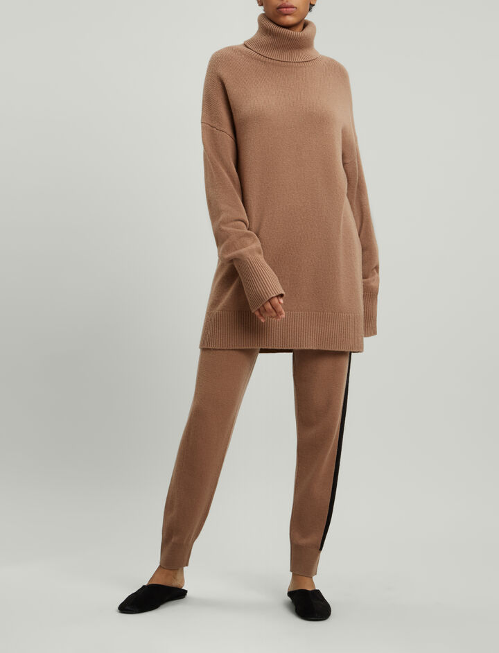 Joseph, Roll Neck Soft Wool Knit, in CAMEL