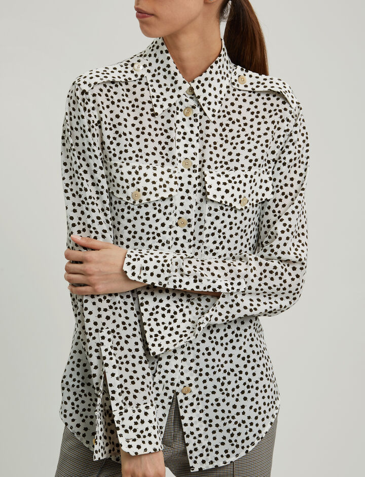 Joseph, Rainer Bud Print Blouse, in MILITARY