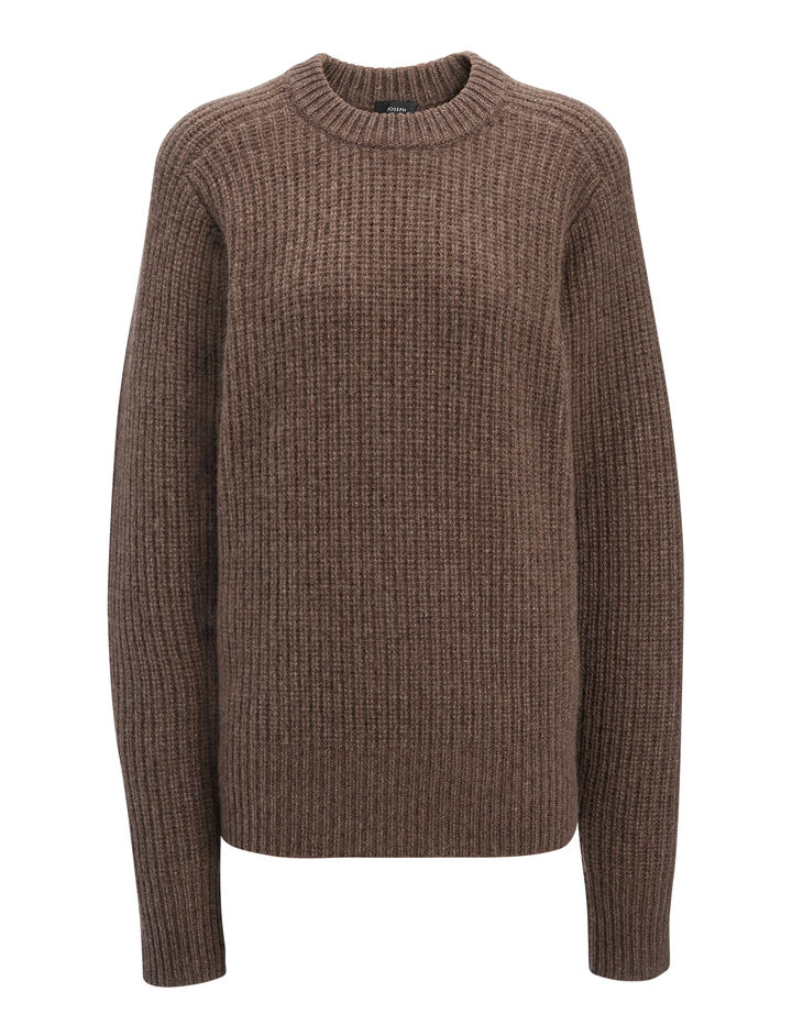 Cashmere Luxe Purl Sweater, in TAUPE, large | on Joseph