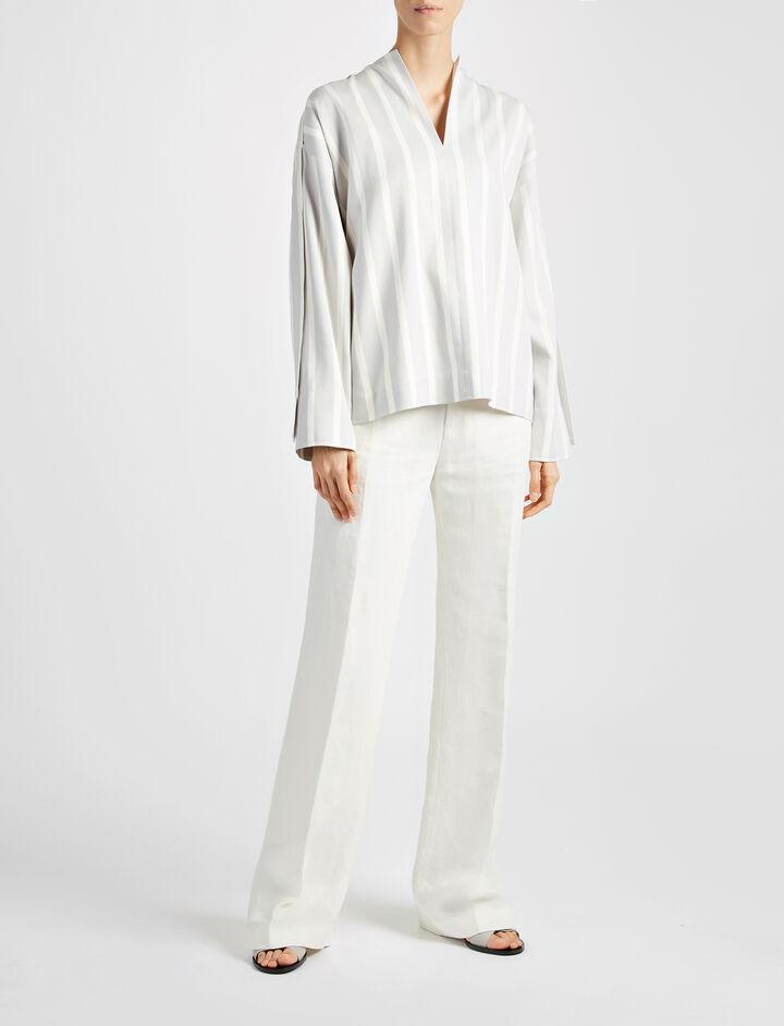 Linen Twill Ferguson Trouser, in OFF WHITE, large | on Joseph