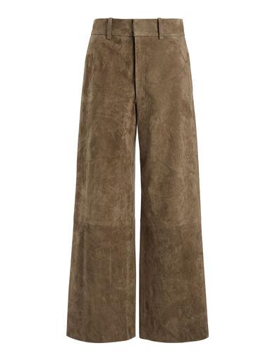 Pantalon court Ferrandi en cuir suédé stretch, in TAUPE, large | on Joseph