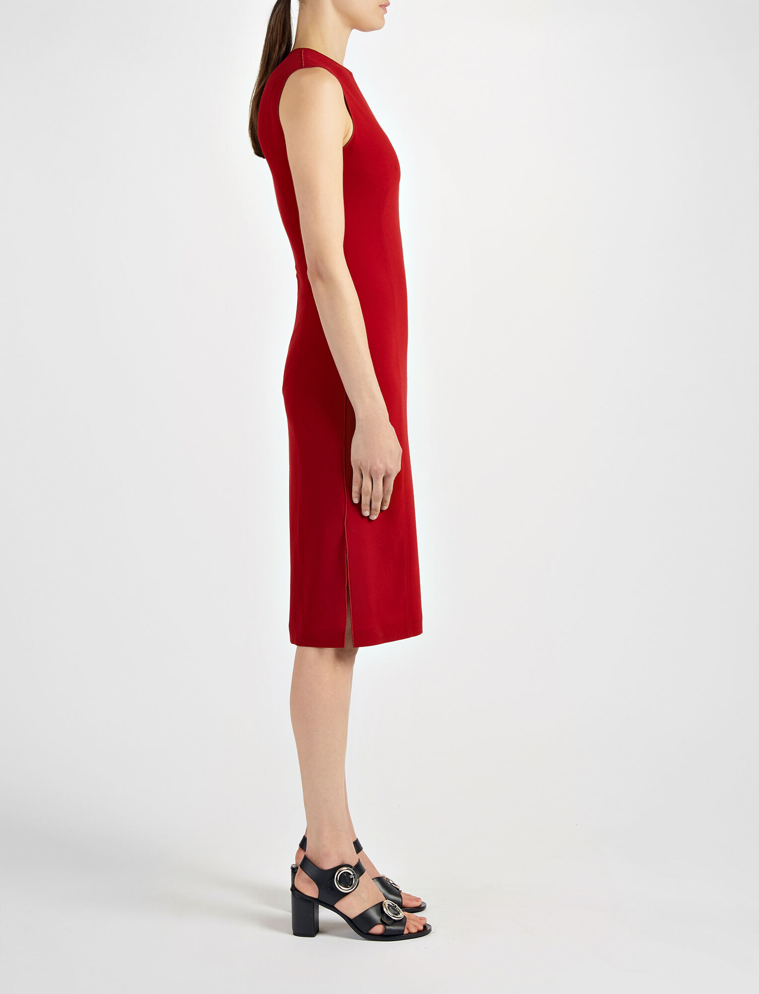 Joseph, Crepe Stretch Sadie Dress, in OXBLOOD