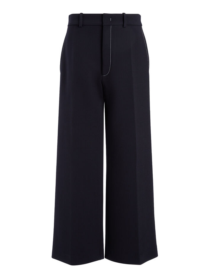 Bi-Stretch Wool Ferrandi Crop Trousers, in NAVY, large | on Joseph