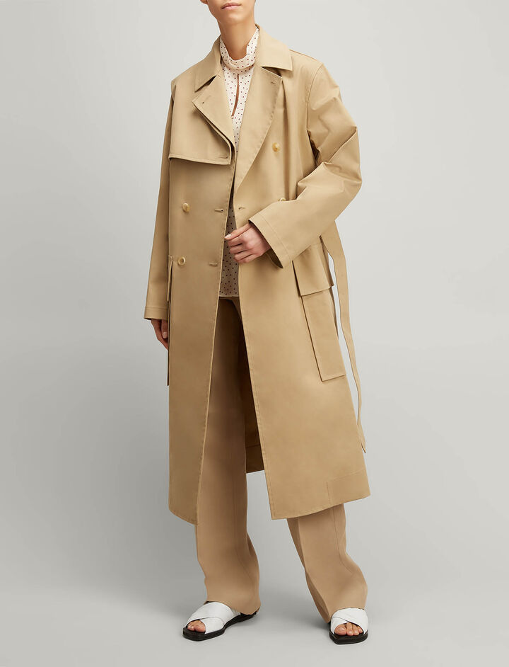 Joseph, Trench Cotton Aquila Coat, in CAMEL