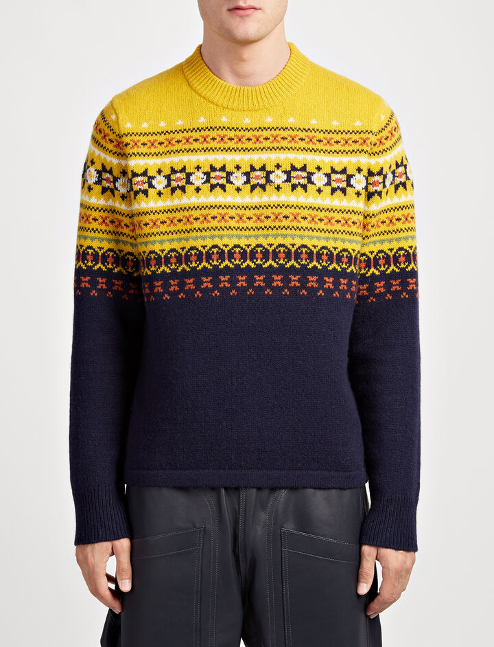 Fair Isle Knit Sweater, in YOLK, large | on Joseph