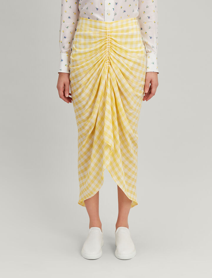 Gingham Jacquard Roman Skirt, in DANDELION, large | on Joseph