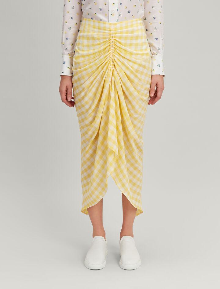 Joseph, Gingham Jacquard Roman Skirt, in DANDELION