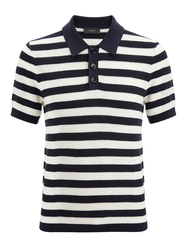 Joseph, Cotton Pique Stripe Polo Shirt, in NAVY/ECRU