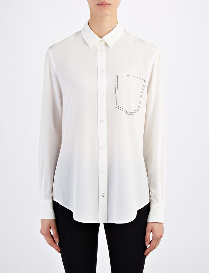 Joseph, Crepe de Chine New Garçon Blouse, in CHALK