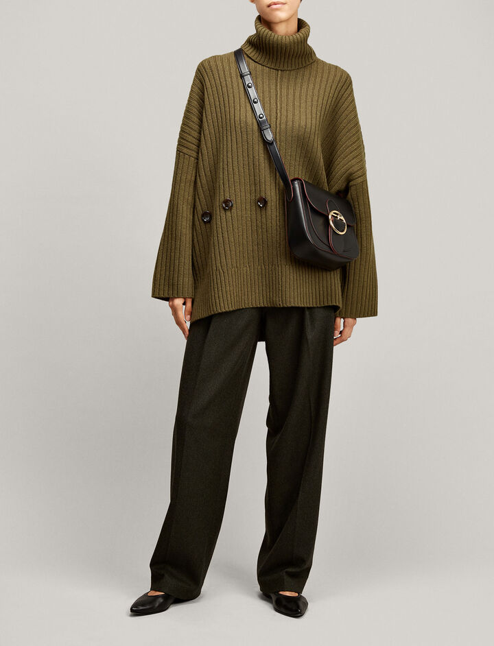 Joseph, Poncho Soft Wool Knit, in MILITARY