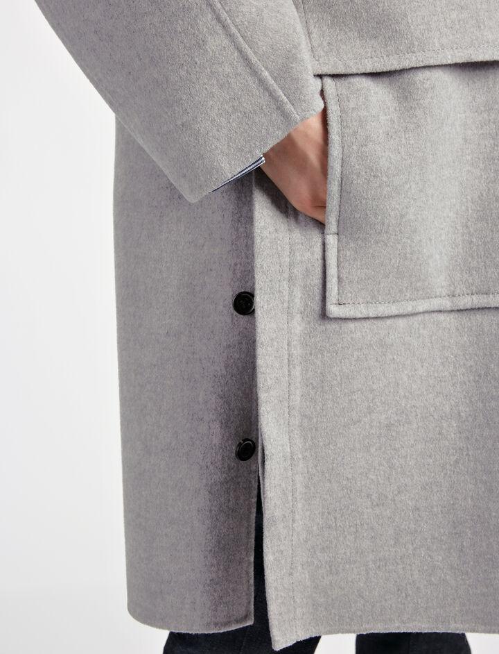 Manteau Caplan en laine double, in LIGHT GREY, large | on Joseph