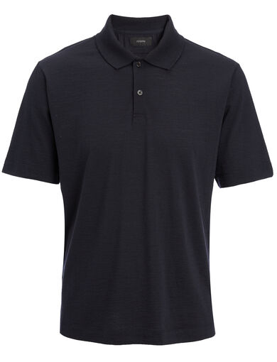 Wool Jersey Polo, in NAVY, large | on Joseph