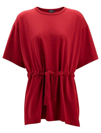 Tee shirt jersey garment dyed, in CRANBERRY, large | on Joseph