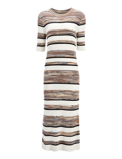 Techno Cotton Strip Elmore Dress, in ECRU COMBO, large | on Joseph