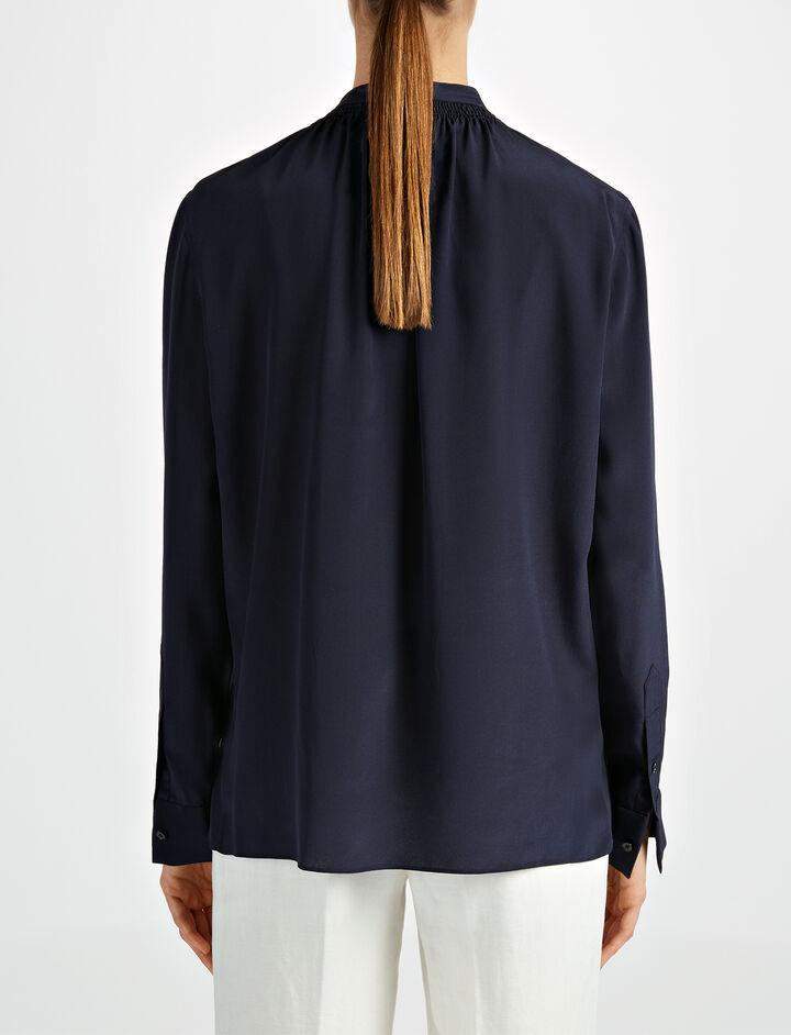 Crepe de Chine Stan Blouse, in NAVY, large | on Joseph