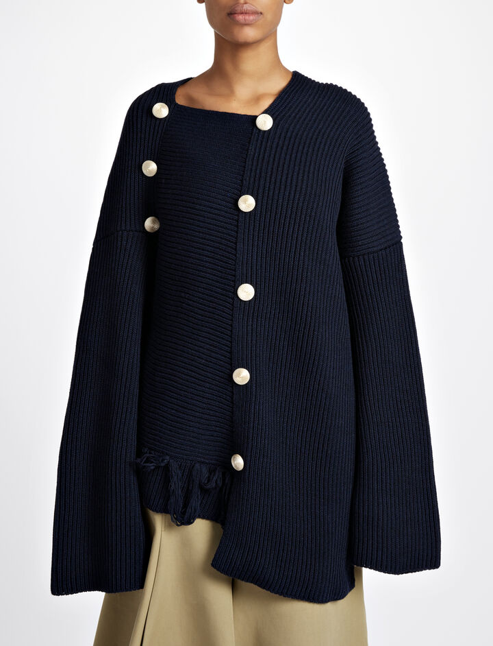 Cardigan Stitch Asymetric Sweater, in NAVY, large | on Joseph