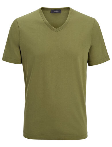 Mercerized Jersey V Neck Tee, in KHAKI, large | on Joseph