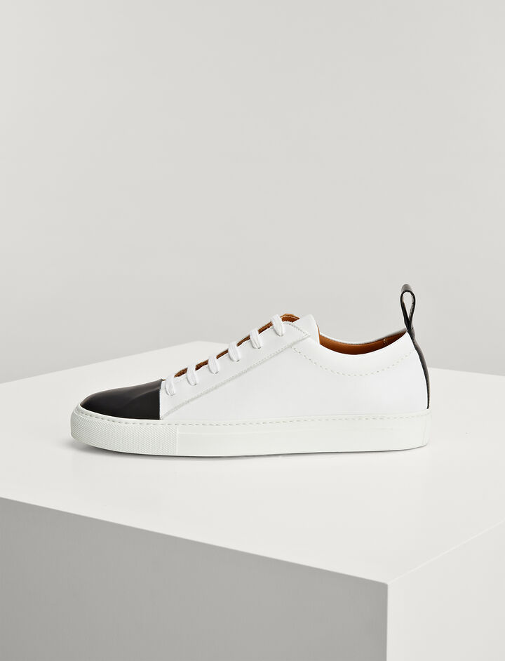 Calf Leather Sahara Murray Trainers, in BLACK/WHITE, large | on Joseph