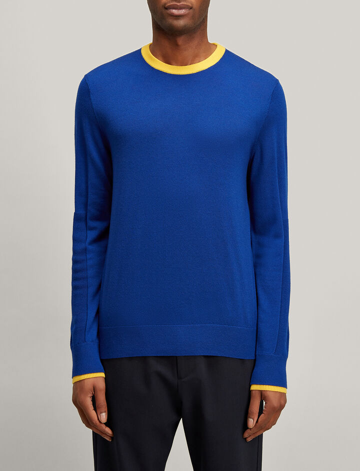 Rib Patch Merinos Sweater, in COBALT BLUE, large | on Joseph
