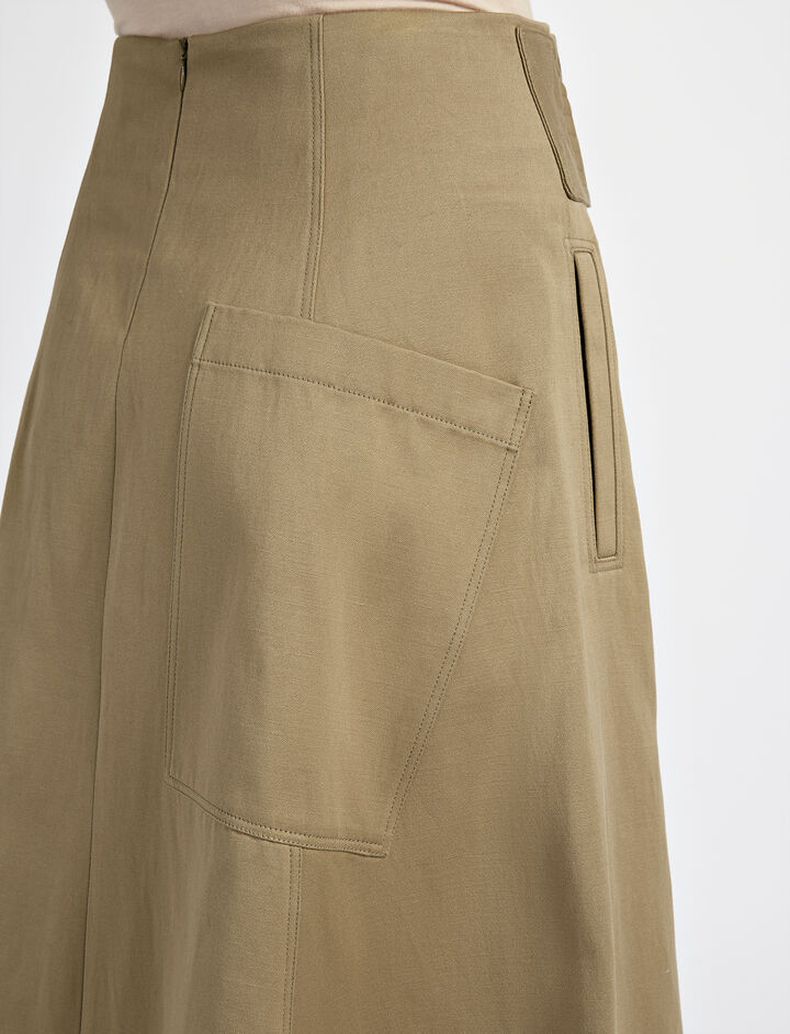 Utility Cotton Arka Skirt, in ARMY, large | on Joseph