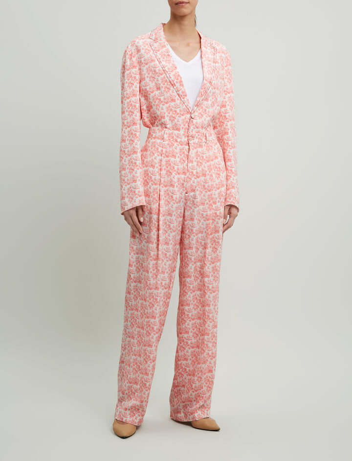 Joseph, Riska Poppy Print Trousers, in BLUSH