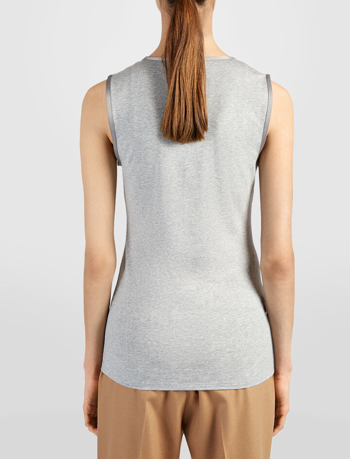 Cotton Lyocell Stretch Tank, in MARBLE, large | on Joseph