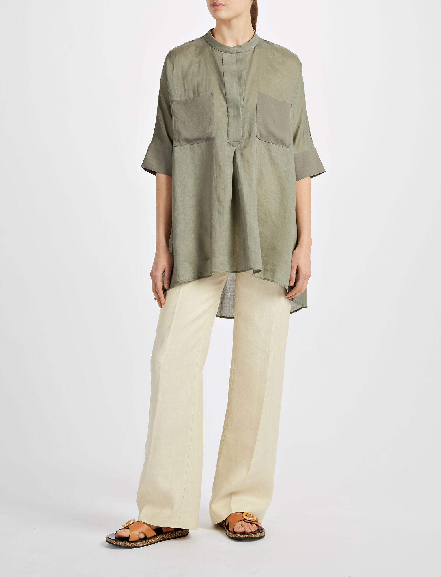 Joseph, Ramie Voile Heather Blouse, in FATIGUE