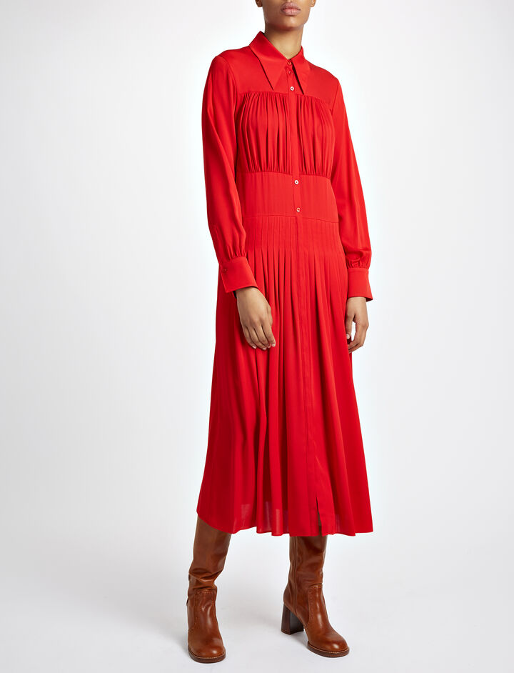 Double Silk Josie Dress, in RUBY, large | on Joseph