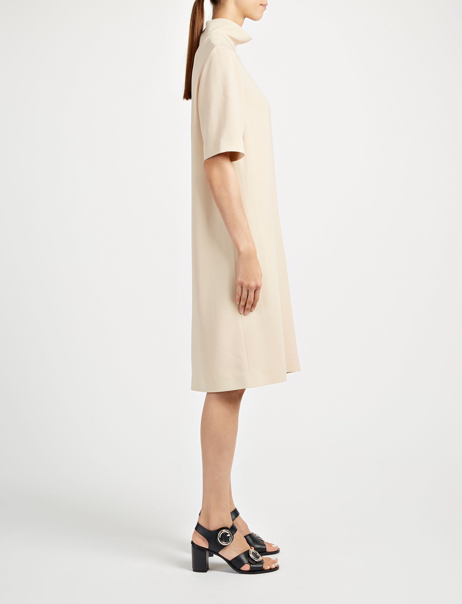 Viscose Cady Anya Dress, in DUST, large | on Joseph
