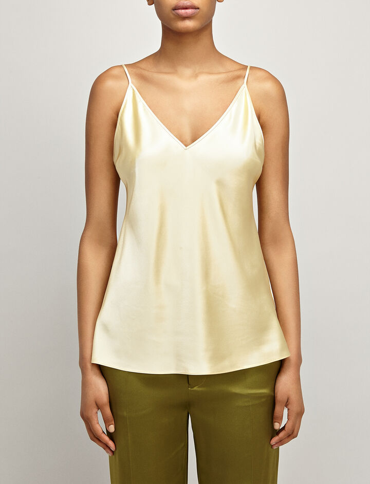 Silk Satin Clea Top, in CUSTARD, large | on Joseph