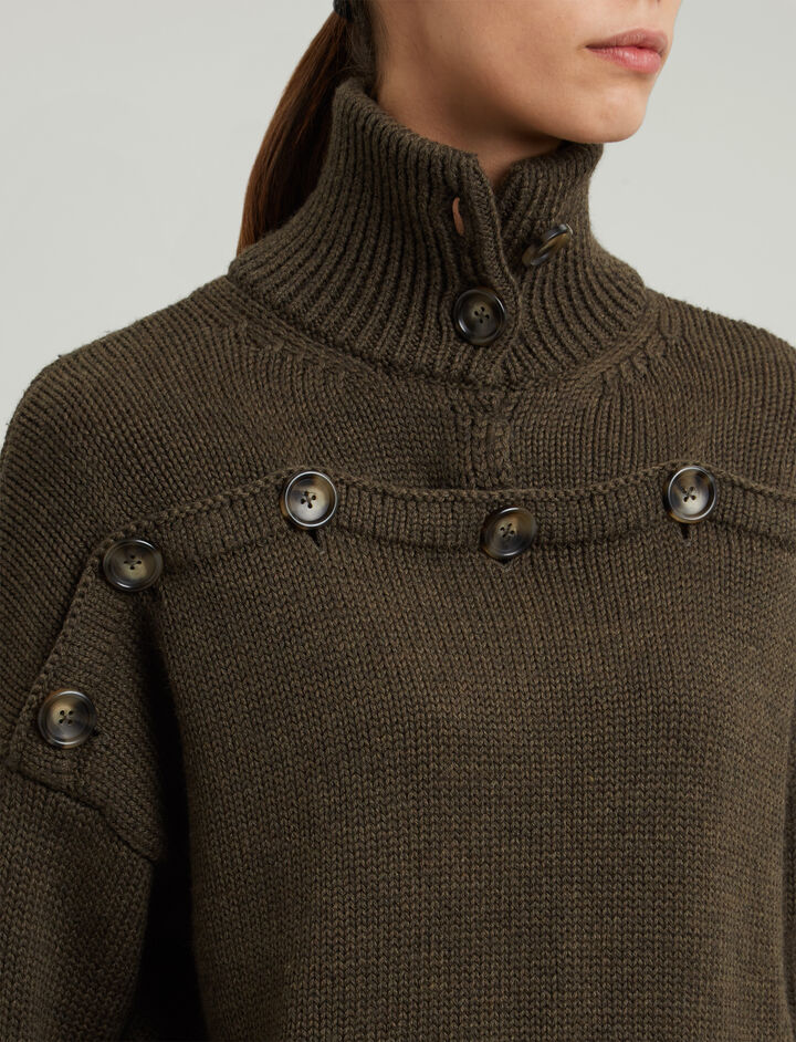 Joseph, High Neck Sweater Button Knit, in MILITARY