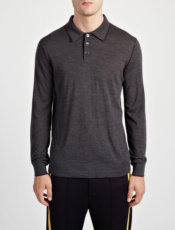 Polo en tricot de laine mérinos légère, in CHARCOAL, large | on Joseph