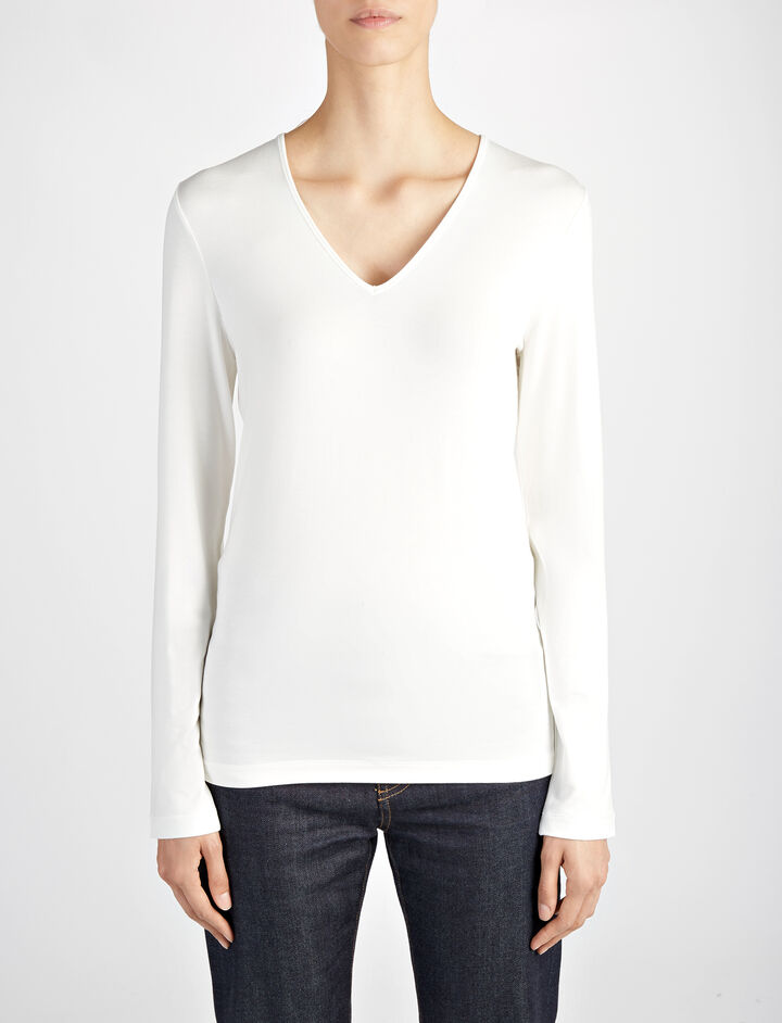 Joseph, Stretch Jersey Deep V Neck Top, in CHALK