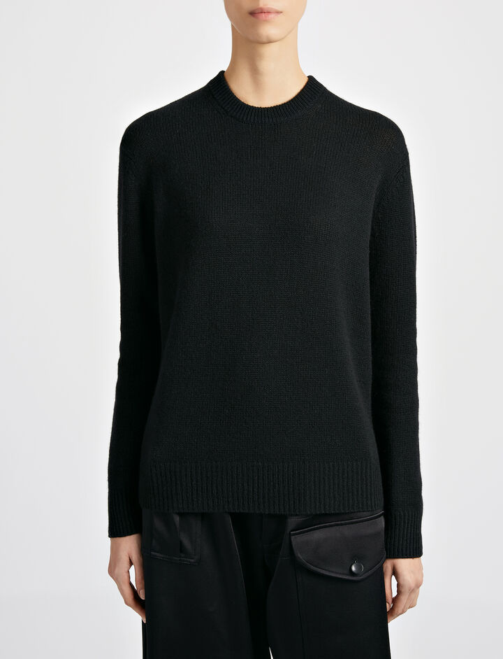 Open Cashmere Top, in BLACK, large | on Joseph