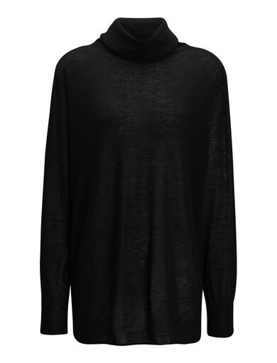 Cashair High Neck Oversized Sweater, in BLACK, large | on Joseph