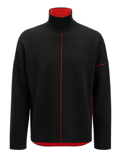 Double Face Knit High Neck Sweater, in BLACK/Red, large | on Joseph