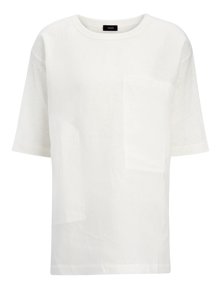 Vintage Linen Jersey Tee, in OFF WHITE, large | on Joseph