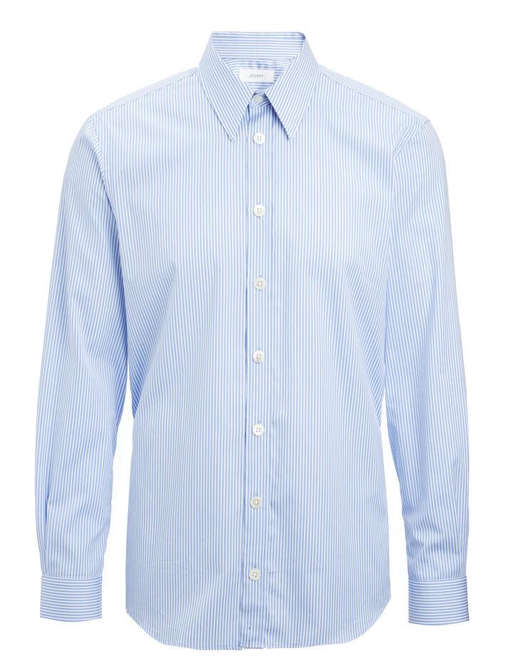Retro Stripe Moriston Shirt, in BLUE, large | on Joseph