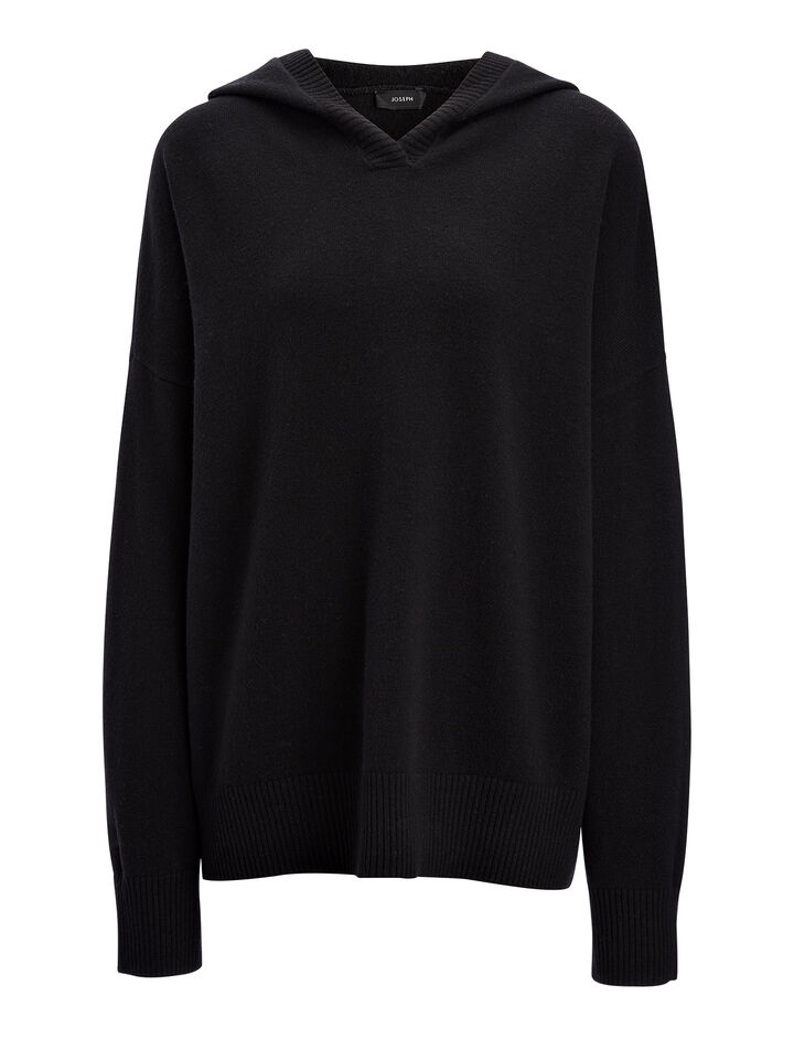 Farrah Knit Hoody, in BLACK, large | on Joseph