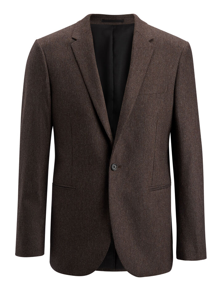 Small Stripe Halton Suiting Jacket, in BROWN, large | on Joseph