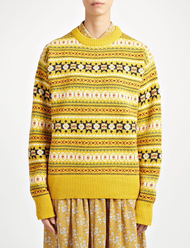 Pull en double tricot fair isle, in YOLK, large | on Joseph
