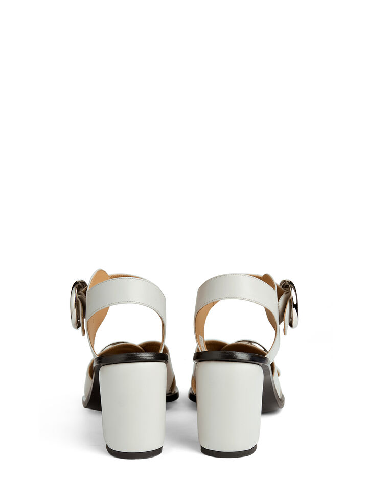 Calf Leather Heeled Buckle Sandal, in PALE BLUE, large | on Joseph