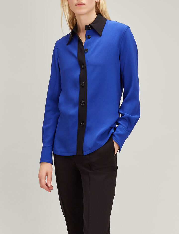Joseph, Viscose Cady Garcon Shirt, in COBALT/BLACK