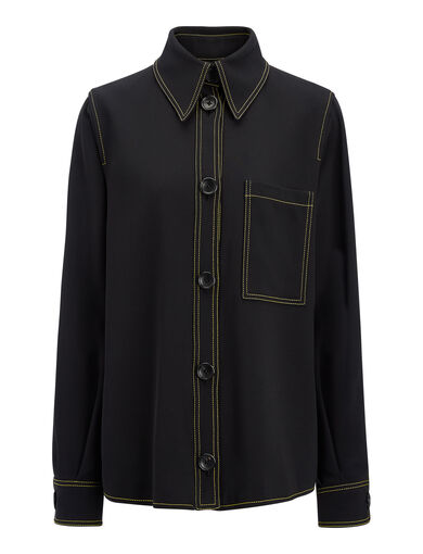 Viscose Cady Blaise Jacket, in BLACK, large | on Joseph